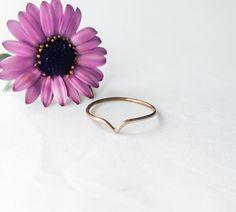 Gold chevron ring, gold stacking ring, teardrop ring