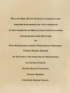 Jacqueline Bouvier and John F. Kennedy's wedding invitation, Sept. 12, 1953