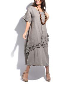 Taupe Linen Ruffle Midi Dress