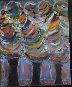 Tableau Acrylique Abstrait - Forêt Automnale - 40 x 50 cms : Peintures par mimipeint