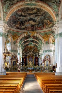 An interior view of the cathedral at St. Gallen Abbey, Switzerland (by mhoffman).