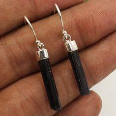 925 Sterling Silver Jewelry Earrings Natural BLACK TOURMALINE Gemstones Exporter #Unbranded #DropDangle
