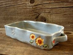 Long Baking Dish in Rustic Country Blue with Sunflower and Hearts - Cobbler Pan    Medium size baking dish. Perfect for dinner casseroles and