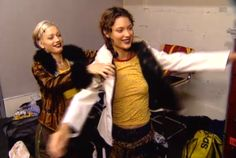 """Backstage Shalom lived out the ultimate fantasy — playing dress up in Gwen's clothes!   Remember When Gwen Stefani Hung Out With Shalom Harlow On MTV's """"House Of Style"""""""