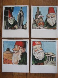 Travelling Gnome Polaroids - MORE ART, LESS CRAFT - Hello!I normally don't post my paintings on craftster, but since I made these for the Amelie swap and I'm rather proud of them,I thought the Drawing Projects, Drawing Lessons, Middle School Art, Art School, Amelie, High School Art Projects, 8th Grade Art, Ecole Art, Art Lessons Elementary