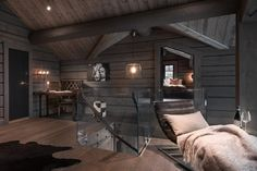 Kvitfjell - Spectacular log cabin with a very high standard, fantastic . Modern Lodge, Modern Rustic Homes, Timber Cabin, Timber Frame Homes, Cabin Homes, Log Homes, Mountain House Decor, Swedish House, Cabin Interiors