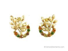 Vintage Faux Pearl Rhinestone Leaves Earrings by LemonKitscharms