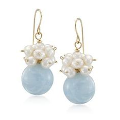 Ross-Simons - Aquamarine and 3-4mm Pearl Drop Earrings in 14kt Yellow Gold - #788178