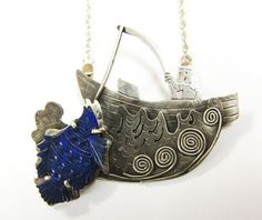 Catch of the Day  fisherman's pendant pin boating by MayStudios, $225.00