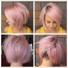 Ben jij niet bang om te spelen met kleur? Korte kapsels met roze kleuren! Heb…