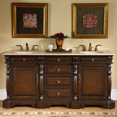 There is ample storage room with this elegant vanity, which features raised panels and detailed accents. This empire style vanity would make its own statement without overwhelming any bathroom.