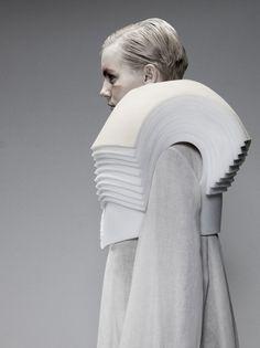 Sculptural Shoulders detail - three-dimensional fashion design