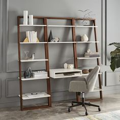 Ladder Shelf Desk + Wide Bookshelf Set $777