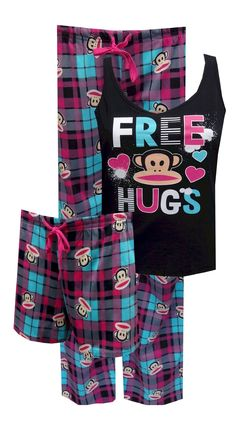 Paul Frank Free Hugs 3 Piece Pajama Set No matter what the weather, these fun Paul Frank Julius pajamas are what you need! This three piece set is sure to bring you lots of loving with the offer of Free Hugs on the black tank top. The coordinating sleep shorts and lounge pants are a lovely plaid in black, teal and magenta. All of the pieces are 100% cotton. Machine washable and easy care. Junior cut. Be Merry!