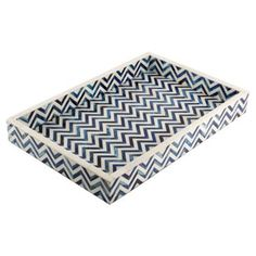 Check out this item at One Kings Lane! Chevron Tray, Blue