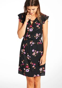 Jurk met bloemenprint en vlindermouwen - BLACK - 08004634_1119 LolaLiza