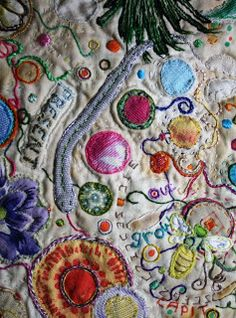 Grace and Mending: Foraging-Scapes - hand dyed bits and pieces lovingly placed on this fabric landscape speaks to me.