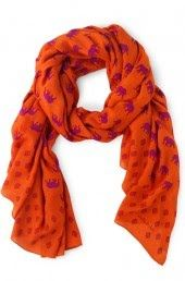 Colorful Tan Printed Rayon Scarf | Bryant Park Scarf