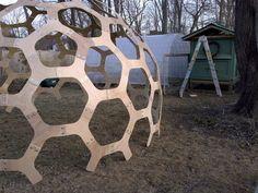 12' diameter CNC cut plywood dome.  Designer:  Robert Clark