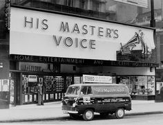 Cool retro signage and delivery van. Vintage photo graph of His Masters Voice (HMV) in Oxford Street. Vintage London, Vintage Tv, Old London, Oxford Street London, Vintage Photos, Carnaby Street, Vintage Modern, London History, British History