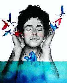 Ilustración: Cerati los pájaros y el tempano Print Soda Stereo, All About Music, My Music, Cool Posters, Tshirt Colors, Body Painting, Rock N Roll, The Dreamers, Famous People