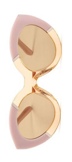 Karen Walker Poolside Flowerpatch light pink & gold cat eye sunglasses