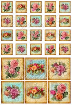 Antique Squares - squares image - digital collage sheet - 1 x 1 and 2 x 2 inch - Printable Download. $4.35, via Etsy.