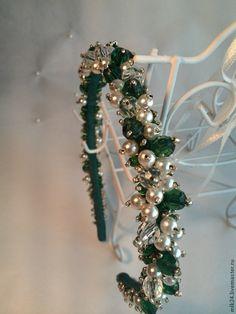 """Купить Ободок """"Крыжовник"""" - зелёный, ободок для волос, ободок, ободок из камней, ободок из бусин"""