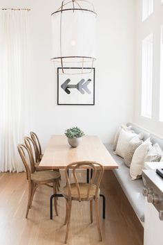 Get inspired by Scandinavian Dining Room Design photo by 30 Collins. Wayfair lets you find the designer products in the photo and get ideas from thousands of other Scandinavian Dining Room Design photos. Dining Nook, Dining Room Lighting, Dining Room Design, Built In Dining Room Seating, Kitchen Banquet Seating, Small Dining Area, Cafe Seating, Seating Areas, Design Room