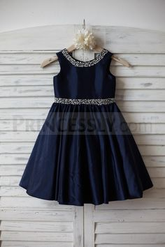 Beaded Navy Blue Taffeta Flower Girl Dress