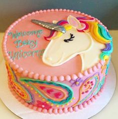 Baby Showers - Hayley Cakes and Cookies Baby unicorn baby shower cake! Gateau Baby Shower, Baby Shower Cakes, Birthday Cake Girls, Unicorn Birthday, Birthday Cakes, Birthday Design, Birthday Ideas, Blue Birthday, Rainbow Birthday