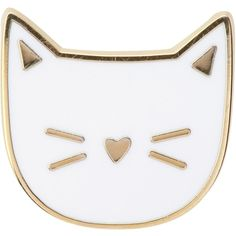 Des Petits Hauts Margot Cat Pin ($19) ❤ liked on Polyvore featuring jewelry, brooches, fillers, pins, accessories, cats, ecru, pin brooch, des petits hauts and cat brooch
