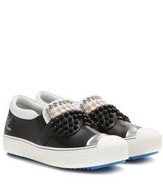 Fendi Embellished Slip-on Leather Sneakers For Spring-Summer 2017