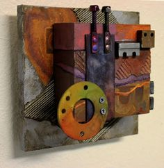 by Carol Nelson mixed media ~ 6 x 6 wall sculpture Wall Sculptures, Sculpture Art, Abstract Sculpture, Modern Art Movements, Assemblage Art, Watercolor Artists, Totems, Mixed Media Painting, Abstract Photography