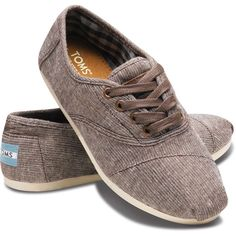TOMS Shoes Brown Metallic Woven Cordones Women 5.5 ❤ liked on Polyvore
