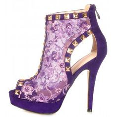 Purple Lace Peep Toe Heels Platform Ankle Booties with Rivets