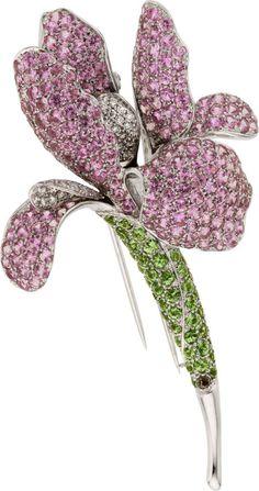 Pink Sapphire, Tsavorite Garnet, Diamond, White Gold Flower Clip-Brooch