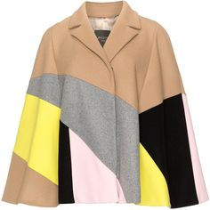 Persona Camel / Pink Plus Size Wool blend felt colour blocked cape (21,825 MKD) ❤ liked on Polyvore featuring outerwear, coats, cape, coats & jackets, camel, plus size, pink cape coat, womens plus coats, plus size camel coat and women's plus size coats