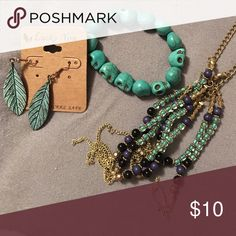 TEAL BUNDLE Never worn feather earrings, skull bracelet, real navy and gold necklace Jewelry
