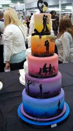 6 tier round Wedding Cake with Silhouettes of Bride & Groom.JPG
