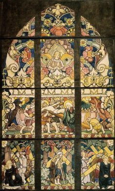 Jozef Mehoffer, The Way of the Cross - the Crucifixion, 1923-24, design for stained-glass window in the Holy Cross Chapel in Wawel Cathedral, watercolour on paper on canvas, 363 x 223 cm, National Museum, Cracow