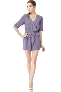 NAKED ZEBRA CROSS-OVER WAIST STRAP ATTACHED V SHAPED OPEN-BACK 3/4 SLEEVE MELROSE ROMPER  http://www.naked-zebra.com/qr70904.html