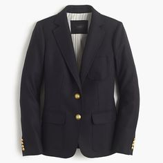 (I don't have this exact blazer, but I have something like it!) Slim and tailored, our newest blazer is made from wrinkle-resistant wool from Comero, a family-owned mill in Italy. We finished it with gold buttons, patch pockets and a contrast felt collar that looks even better popped... In a word? Genius.
