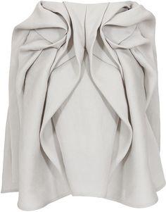 Yiqing Yin greige silk draped Magnolia skirt