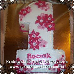 043. Tort jedynka na roczek. Tort w kształcie cyfry 1. Cake for the 1st birthday.