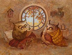 Галина Егоренкова Fairytale Art, Owl Bird, Children's Book Illustration, Nature Illustrations, Whimsical Art, Art World, Cute Art, Illustrators, Fantasy Art