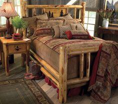 beautiful log bed