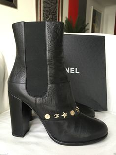 2014 CHANEL BLACK LEATHER PULL-ON BOOTS WITH CHARMS — Miami Lux Boutique Chanel Boots, Pull On Boots, Chanel Black, Chunky Heels, Black Boots, Bootie Boots, Charms, Black Leather, Booty