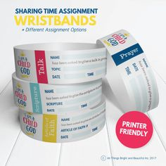 2018 LDS Primary Theme Kit: I am a Child of God - LOVE these Sharing Time assignment wristbands! Perfect for Primary presidencies!