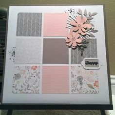 CTMH Charlotte single page layout with Ink Blot (D1660) stamp set. Flowers cut out from the Cricut® Artistry Collection. Paper squares can be used as photo mats or journalling squares.